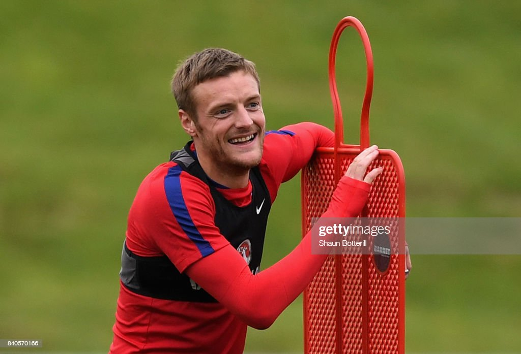 Jamie Vardy of England reacts during a England training session ahead of their World Cup Qualifiers against Malta and Slovakia at St Georges Park on August 29, 2017 in Burton-upon-Trent, England.