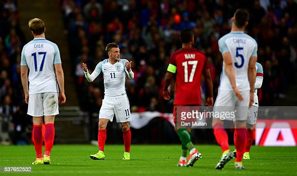 Jamie Vardy of England reacts during the international friendly match between England and Portugal at Wembley Stadium on June 2 2016 in London England