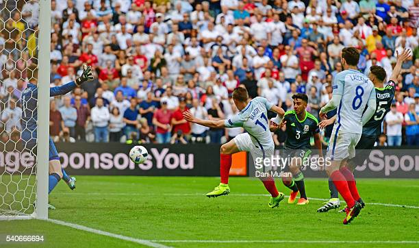 Jamie Vardy of England scores Englands first goal during the UEFA EURO 2016 Group B match between England and Wales at Stade BollaertDelelis on June...