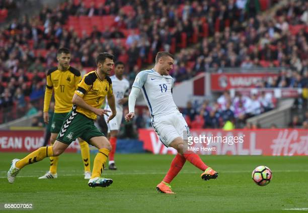 Jamie Vardy of England scores his side's second goal during the FIFA 2018 World Cup Qualifier between England and Lithuania at Wembley Stadium on...