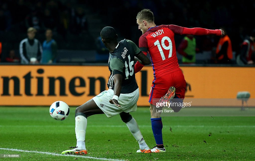 Jamie Vardy of England scores his teams second goal against Antonio Ruediger of Germany during the International Friendly match between Germany and England at Olympiastadion on March 26, 2016 in Berlin, Germany.