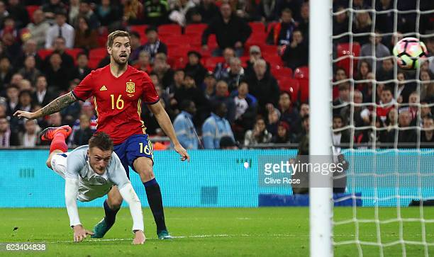 Jamie Vardy of England scores their second goal during the international friendly match between England and Spain at Wembley Stadium on November 15...