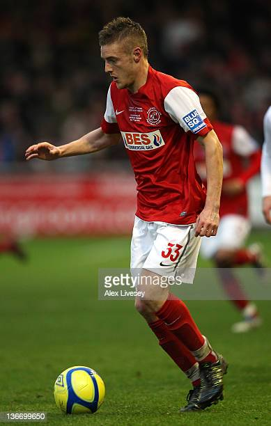 Jamie Vardy of Fleetwood Town during the FA Cup sponsored by Budweiser third round match between Fleetwood Town and Blackpool at Highbury Stadium on...