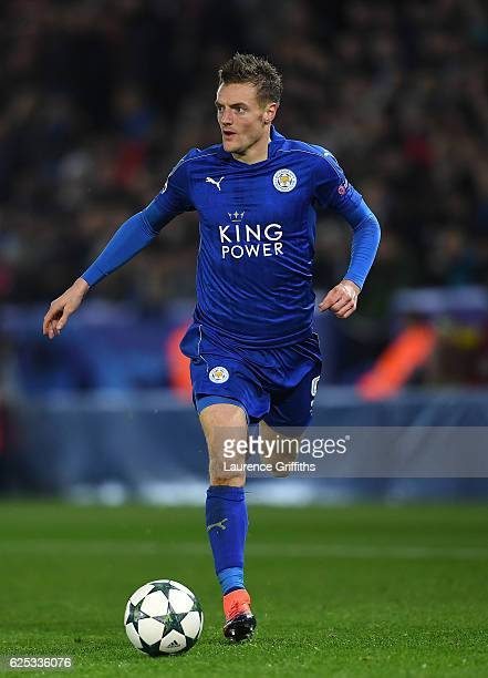 Jamie Vardy of Leciester City in action during the UEFA Champions League match between Leicester City FC and Club Brugge KV at The King Power Stadium...