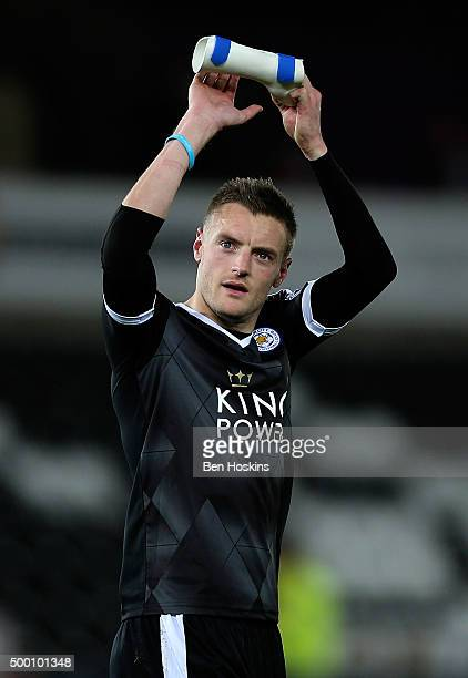 Jamie Vardy of Leicester applauds the travelling fans following the Barclays Premier League match between Swansea City and Leicester City at Liberty...