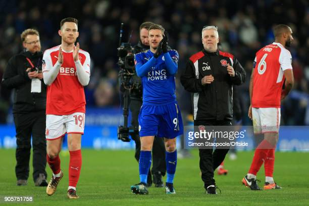 Jamie Vardy of Leicester applauds the visiting fans after The Emirates FA Cup Third Round Replay match between Leicester City and Fleetwood Town at...