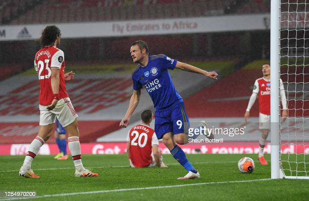 Jamie Vardy of Leicester celebrates after scoring during the Premier League match between Arsenal FC and Leicester City at Emirates Stadium on July...