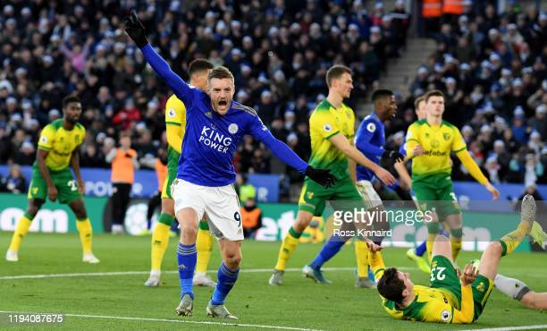 Jamie Vardy of Leicester celebrates after the Leicester goal during the Premier League match between Leicester City and Norwich City at The King...