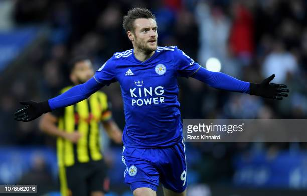 Jamie Vardy of Leicester celebrates his goal during the Premier League match between Leicester City and Watford FC at The King Power Stadium on...