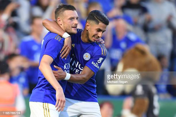 Jamie Vardy of Leicester celebrates his goal to make it 20 with Ayoze Perez during the PreSeason Friendly match between Leicester City and Atalanta...