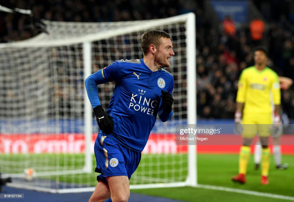 Jamie Vardy of Leicester celebrates his scoring his sides first goal during The Emirates FA Cup Fifth Round match between Leicester City and Sheffield United at The King Power Stadium on February 16, 2018 in Leicester, England.