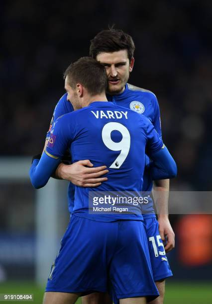Jamie Vardy of Leicester celebrates his scoring his sides first goal with Harry Maguire of Leicester during The Emirates FA Cup Fifth Round match...