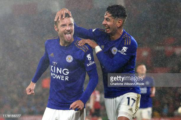 Jamie Vardy of Leicester celebrates scoring their 5th goal with Ayoze Perez they both later go on to score a hattrick each during the Premier League...
