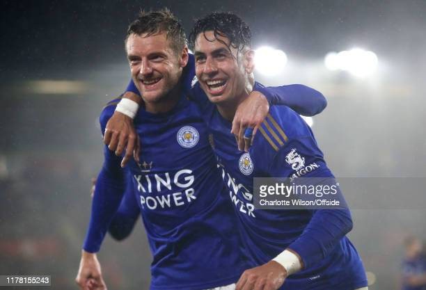 Jamie Vardy of Leicester celebrates scoring their 5th goal with Ayoze Perez ; they both later go on to score a hat-trick each during the Premier...