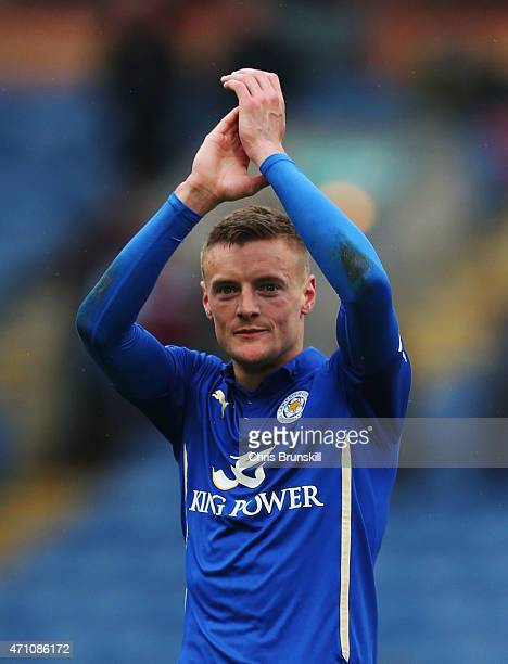 Jamie Vardy of Leicester City ackoweldges the fans during the Barclays Premier League match between Burnley and Leicester City at Turf Moor on April...