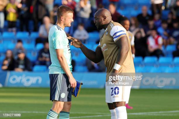 Jamie Vardy of Leicester City and Adebayo Akinfenwa of Wycombe Wanderers ahead of The Pre-Season Friendly between Wycombe Wanderers and Leicester...