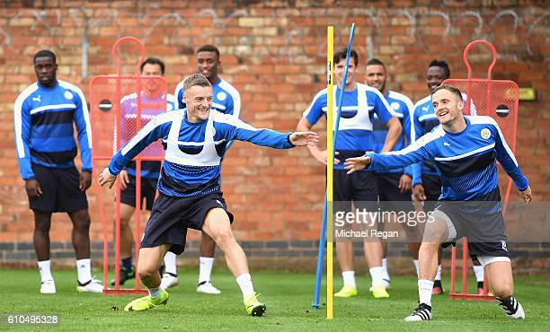 Jamie Vardy of Leicester City and Andy King of Leicester City in action during a Leicester City training session ahead of their Champions League...