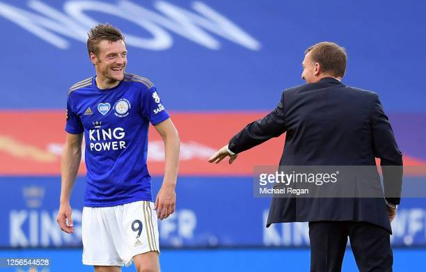 Jamie Vardy of Leicester City and Brendan Rodgers, Manager of Leicester City at full-time during the Premier League match between Leicester City and...