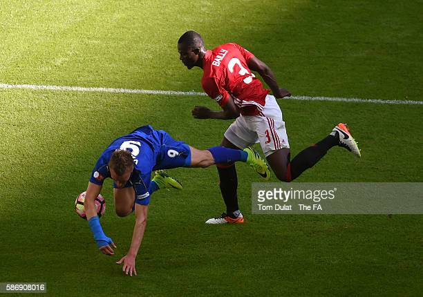 Jamie Vardy of Leicester City and Eric Bailly of Manchester United in action during The FA Community Shield match between Leicester City and...