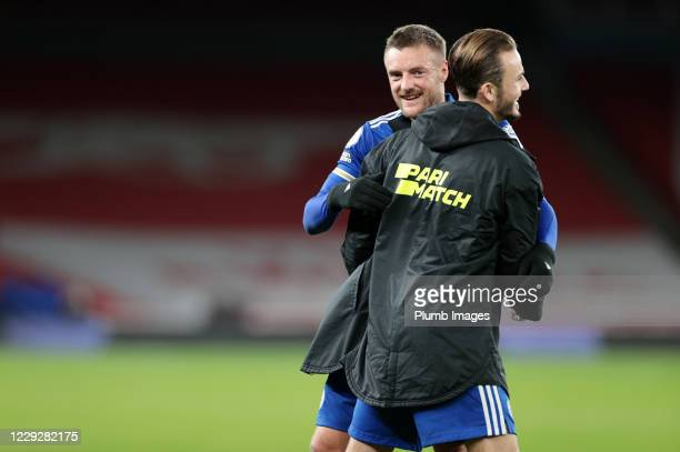 Jamie Vardy of Leicester City and James Maddison of Leicester City celebrate after the Premier League match between Arsenal and Leicester City at...