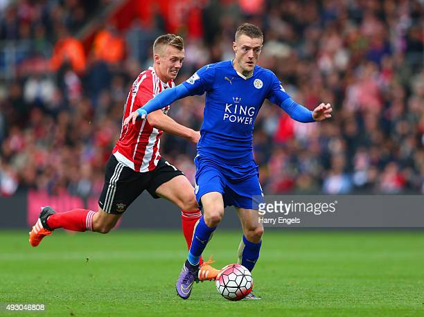 Jamie Vardy of Leicester City and James WardProwse of Southampton compete for the ball during the Barclays Premier League match between Southampton...