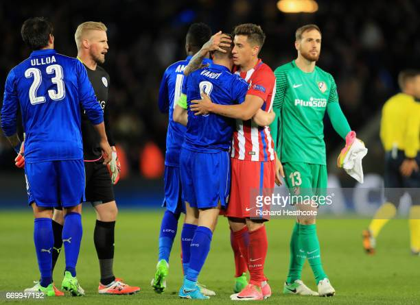 Jamie Vardy of Leicester City and Jose Gimenez of Atletico Madrid embrace after the UEFA Champions League Quarter Final second leg match between...