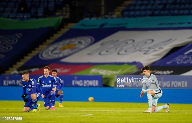 Jamie Vardy of Leicester City and Kai Havertz of Chelsea take a knee in support of the 'Black Lives Matter' movement prior to the Premier League...