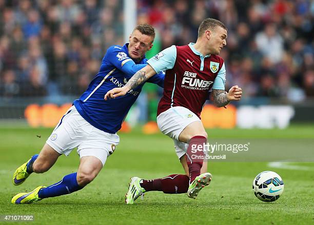 Jamie Vardy of Leicester City and Kieran Trippier of Burnley compete for the ball during the Barclays Premier League match between Burnley and...