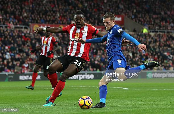Jamie Vardy of Leicester City and Lamine Kone of Sunderland compete for the ball during the Premier League match between Sunderland and Leicester...