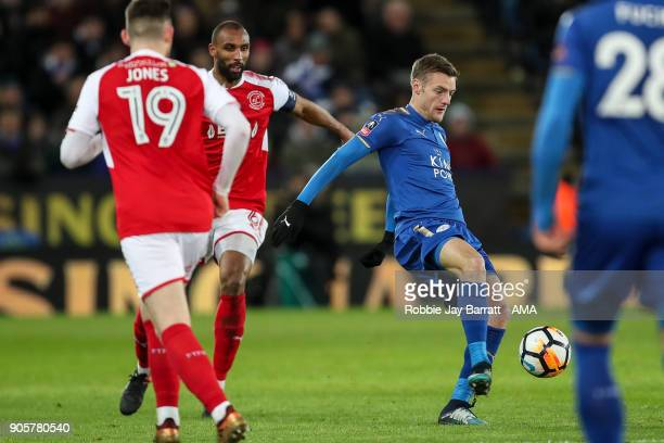 Jamie Vardy of Leicester City and Nathan Pond of Fleetwood Town during The Emirates FA Cup Third Round Replay match between Leicester City and...