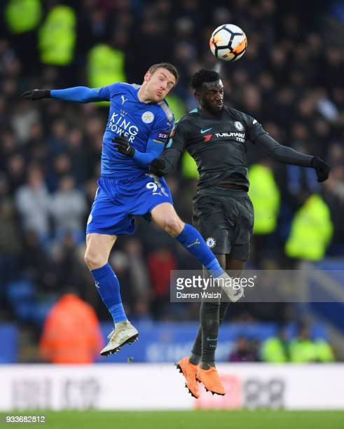 Jamie Vardy of Leicester City and Tiemoue Bakayoko of Chelsea jump for the ball during The Emirates FA Cup Quarter Final match between Leicester City...