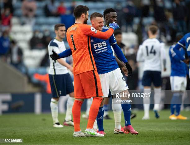 Jamie Vardy of Leicester City and Tottenham Hotspur goalkeeper Hugo Lloris share a joke at the end of the Premier League match between Leicester City...