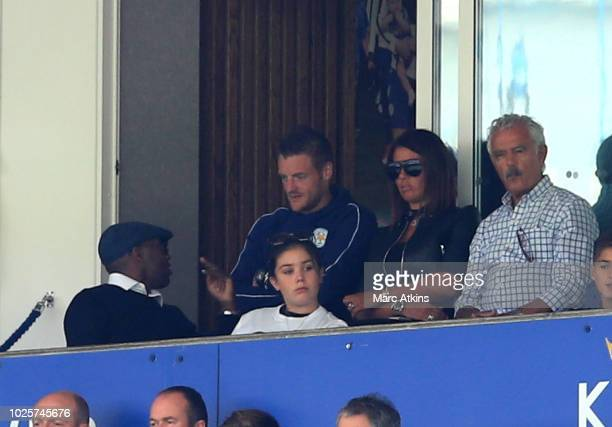 Jamie Vardy of Leicester City and wife Rebekah Vardy look on during the Premier League match between Leicester City and Liverpool FC at The King...