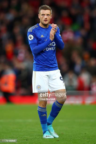 Jamie Vardy of Leicester City applauds fans after the Premier League match between Liverpool FC and Leicester City at Anfield on October 05 2019 in...