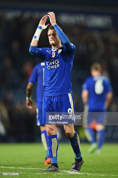 Jamie Vardy of Leicester City applauds supporters after his team's 32 win in the Barclays Premier League match between West Bromwich Albion and...