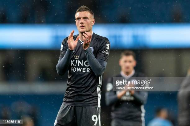 Jamie Vardy of Leicester City applauds the away fans after the Premier League match between Manchester City and Leicester City at Etihad Stadium on...