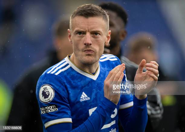 Jamie Vardy of Leicester City applauds the crowd after the Premier League match between Leicester City and Tottenham Hotspur at The King Power...