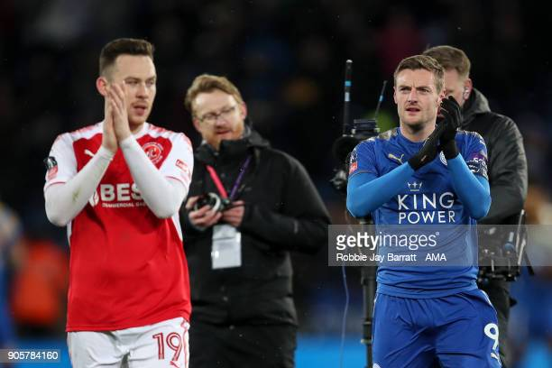 Jamie Vardy of Leicester City applauds the Fleetwood Town fans at full time during The Emirates FA Cup Third Round Replay match between Leicester...