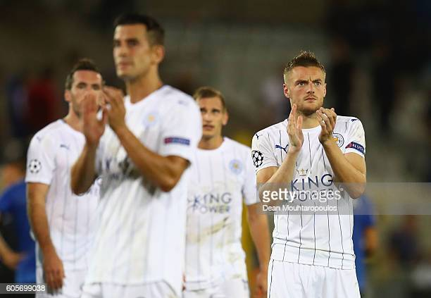 Jamie Vardy of Leicester City applauds with teammates during the UEFA Champions League match between Club Brugge KV and Leicester City FC at Jan...