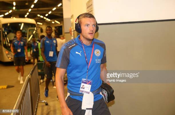 Jamie Vardy of Leicester City arrives at Hong Kong Stadium ahead of the Premier League Asia Trophy Final between Liverpool FC and Leicester City on...