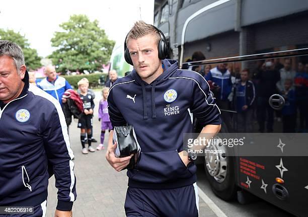 Jamie Vardy of Leicester City arrives at Pirelli Stadium ahead of the pre-season friendly between Burton Albion and Leicester City at Pirelli Stadium...
