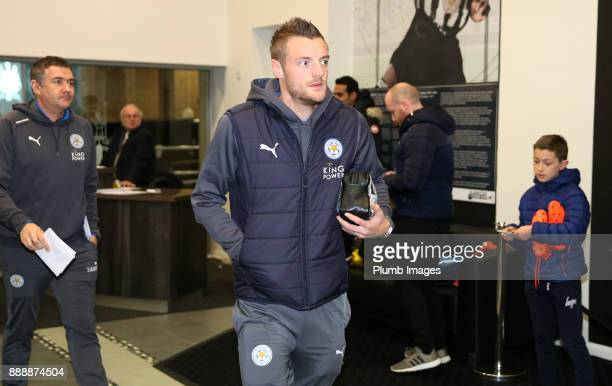 Jamie Vardy of Leicester City arrives at St James Park ahead of the Premier League match between Newcastle United and Leicester City at St James Park...