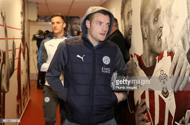 Jamie Vardy of Leicester City arrives at St Mary's Stadium ahead of the Premier League match between Southampton and Leicester City at St Mary's...