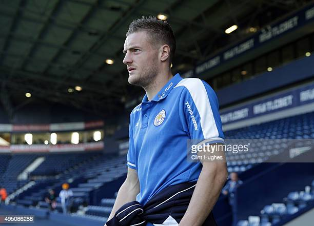 Jamie Vardy of Leicester City arrives at the ground during the Barclays Premier League match between West Bromwich Albion and Leicester City at the...