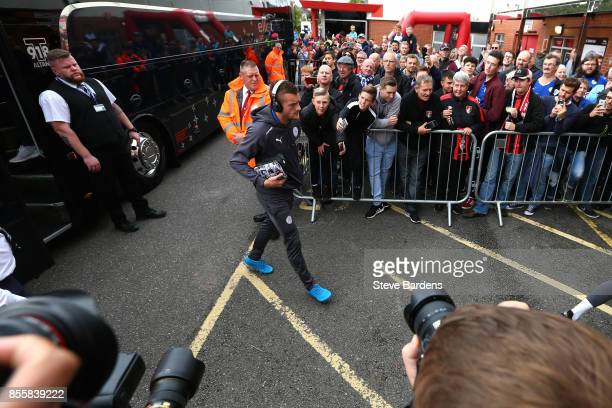 Jamie Vardy of Leicester City arrives at the stadium prior to the Premier League match between AFC Bournemouth and Leicester City at Vitality Stadium...