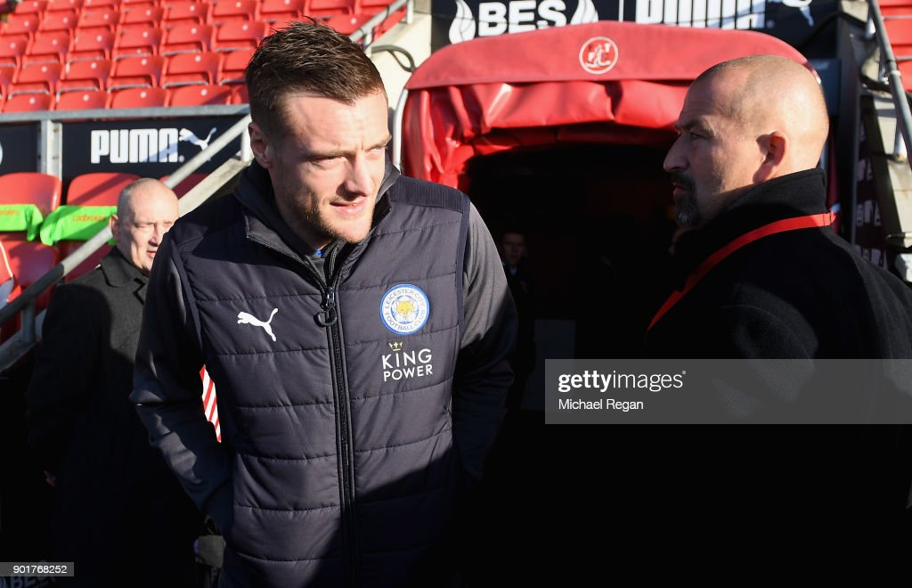 Jamie Vardy of Leicester City arrives prior to the The Emirates FA Cup Third Round match between Fleetwood Town and Leicester City at Highbury Stadium on January 6, 2018 in Fleetwood, England.