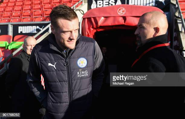 Jamie Vardy of Leicester City arrives prior to the The Emirates FA Cup Third Round match between Fleetwood Town and Leicester City at Highbury...