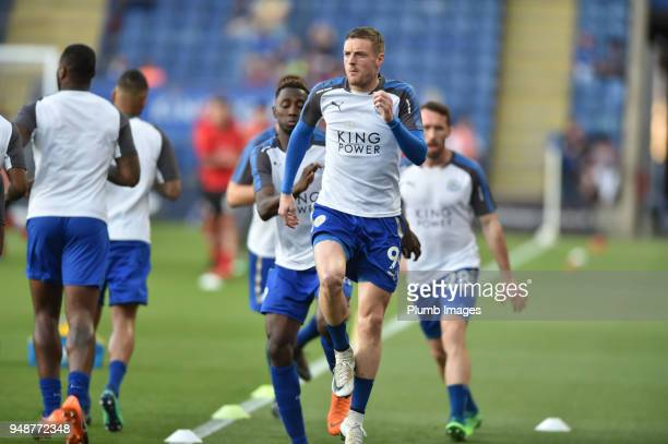 Jamie Vardy of Leicester City before the Premier League match between Leicester City and Southampton at The King Power Stadium on April 19th 2018 in...