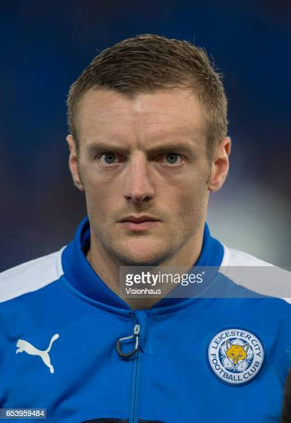 Jamie Vardy of Leicester City before the UEFA Champions League Round of 16 second leg match between Leicester City and Sevilla FC at The King Power...