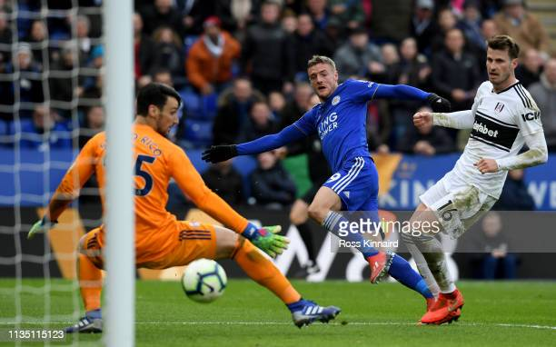 Jamie Vardy of Leicester City bursts through to score his one hundredth golf for the club during the Premier League match between Leicester City and...